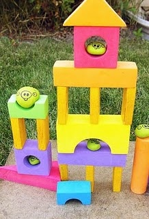 angry birds painted rocks and blocks, kids would love this game!  Hubby might love it more...