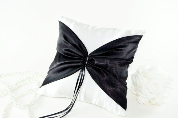 Classy Tux Black and White Ring Bearer Pillow Black by Wedsclusive, $32.00