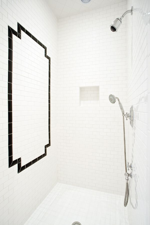 Classic Black and White Subway Tile Shower | Glave and Holmes Architecture