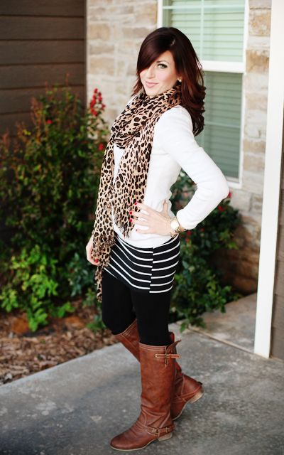 This combination of a white v-neck sweater and a black and white horizontal striped mini skirt is a great outfit formula to have in your arsenal. Dress up this look with brown leather knee high boots.  Shop this look for $86:  http://lookastic.com/women/looks/knee-high-boots-tights-mini-skirt-scarf-v-neck-sweater/4181  — Brown Leather Knee High Boots  — Black Wool Tights  — Black and White Horizontal Striped Mini Skirt  — Tan Leopard Scarf  — White V-neck Sweater