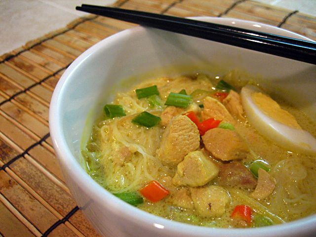 In Indonesia , this dish is called Soto Resah.To kick up the flavor of the traditional Soto Ayam, this variation is infused with coconut milk and more spices.