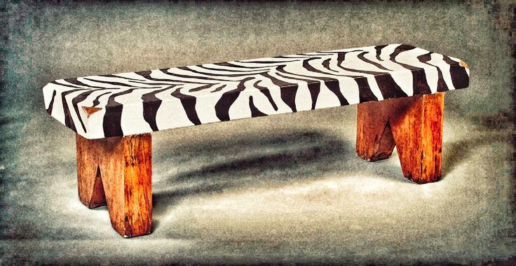 Small Upcycled Zebra Print Bench by PUNKITUP2016 on Etsy
