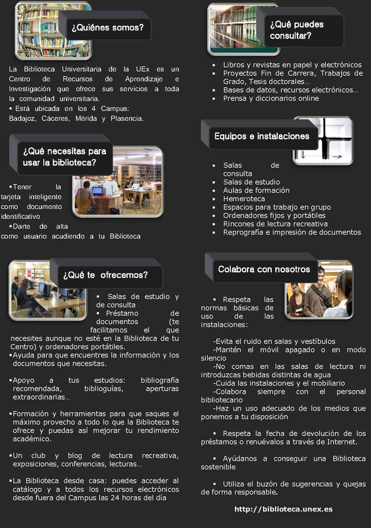 Guía díptico de la biblioteca universitaria de Extremadura: información básica de los servicios de la biblioteca uex #uex #biblioteca #extremadura #guía