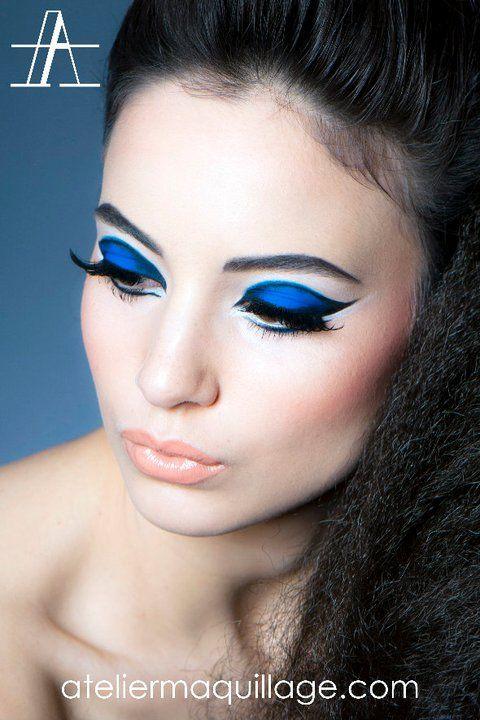 Indigo graphic eye makeup