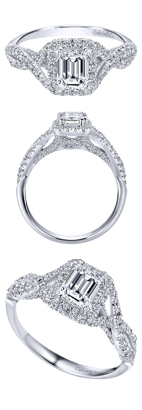 From the Adore Collection, a gorgeous 14k White Gold Contemporary Halo Engagement Ring by Gabriel & Co. One of the most flawless styles with so much beauty! The center stone is so gorgeous along with all of its unique details and designs!