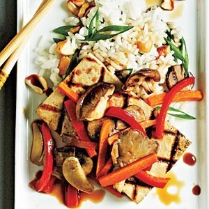 Tofu Steaks with Shiitakes and Veggies Recipe | MyRecipes.com