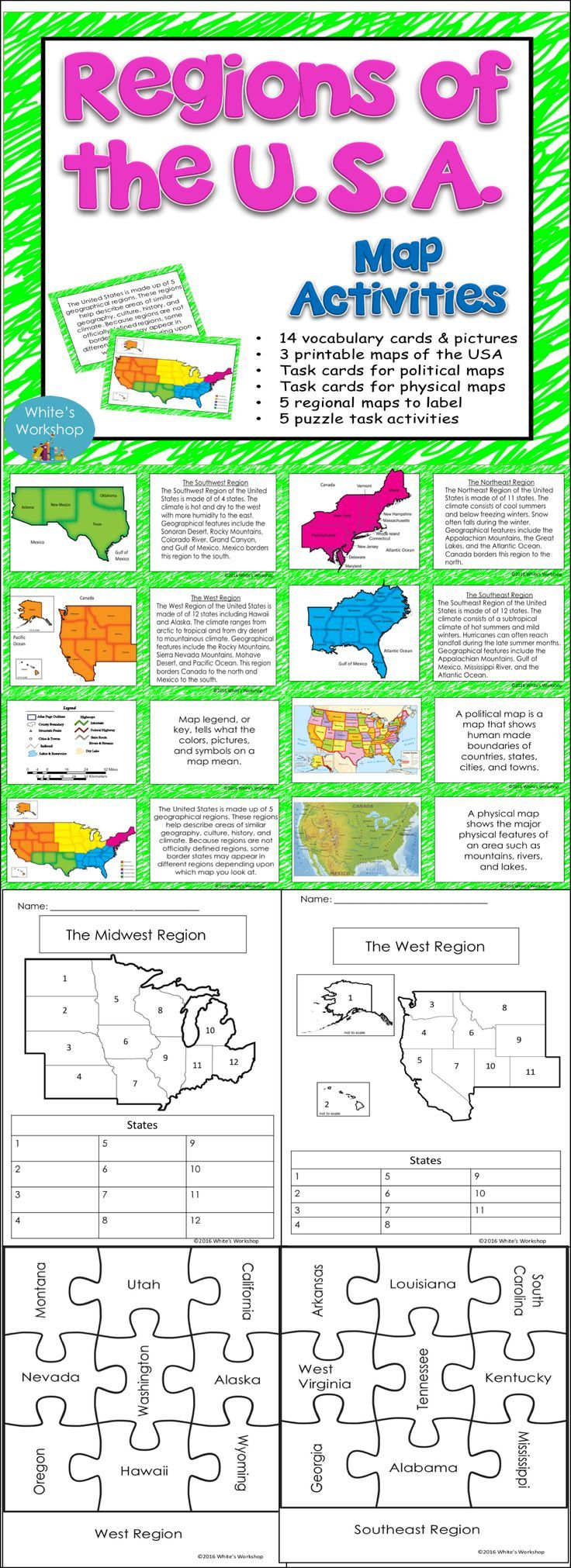 Best Us Regions Ideas On Pinterest Social Science Us - Map of the us activities