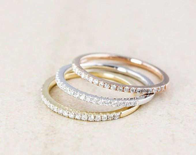 Stackable Diamond Rings - 10K Rose Gold, 10k Yellow Gold, or 10k White Gold