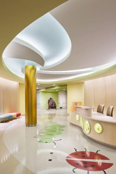 Healthcare Interiors - Reception Lobby -Elizabeth Seton Pediatric Center,  Yonkers, N. That ceiling detail is cool.