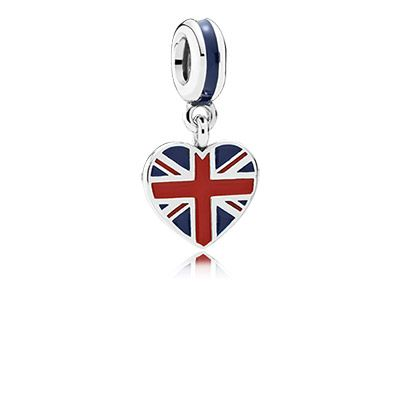 "With its heart shape and Union Jack details, this sweet pendant is perfect for travelers and British patriots alike. This sterling silver and enamel dangling charm will be an indispensable part of any ""Best of Britain"" themed bracelet. #PANDORA #PANDORAcharm"