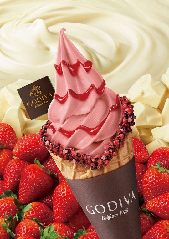 ゴディバのソフトクリームにストロベリーチップが散りばめられた新作種が登場導入店舗数を拡大
