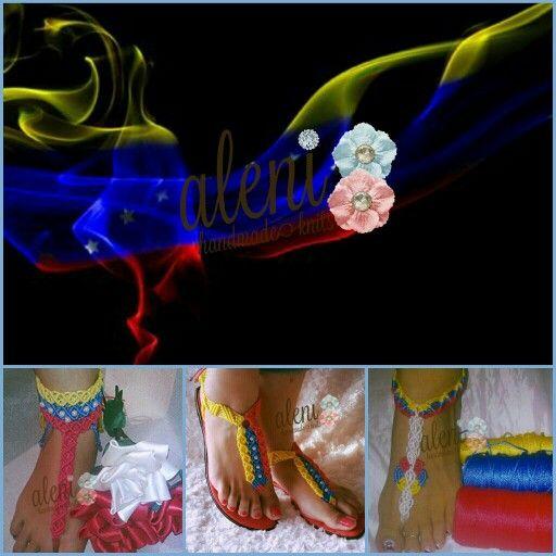country flag sandals. venezuela flag sandals. sandalias con la bandera de tu pais. sandalias con la bandera de venezuela. #alejandranavascreations #alenihandmadeknits #countryflagsandals #sandals #handmadedandals #sexyvenezuelangirls #venezuelangirlinusa