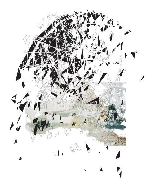 www.artunika.dk / www.artunika.com En utopi er faldet og har mistet sin glød.  Værket er en del af en serie, der alle beskæftiger sig med forfald af forladte konstruktioner i gamle forlystelsesparker. En ny mening og identitet skabes gennem fragmentering og lag af rumlige geometriske forme...