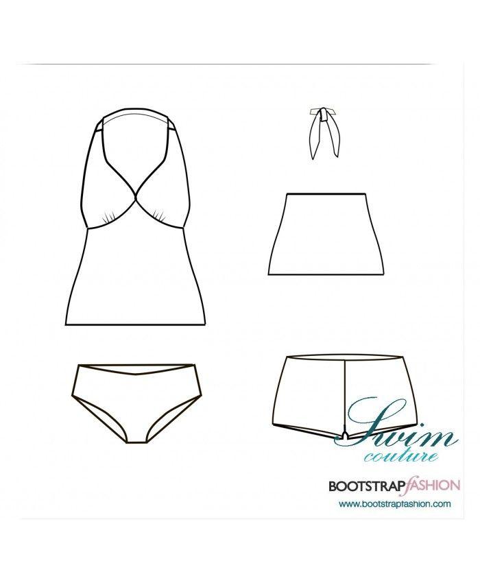 ¡Exclusivo!  Traje de baño personalizado: Set de Tankini de 3 piezas.  Incluye instrucciones de costura ilustradas paso a paso.