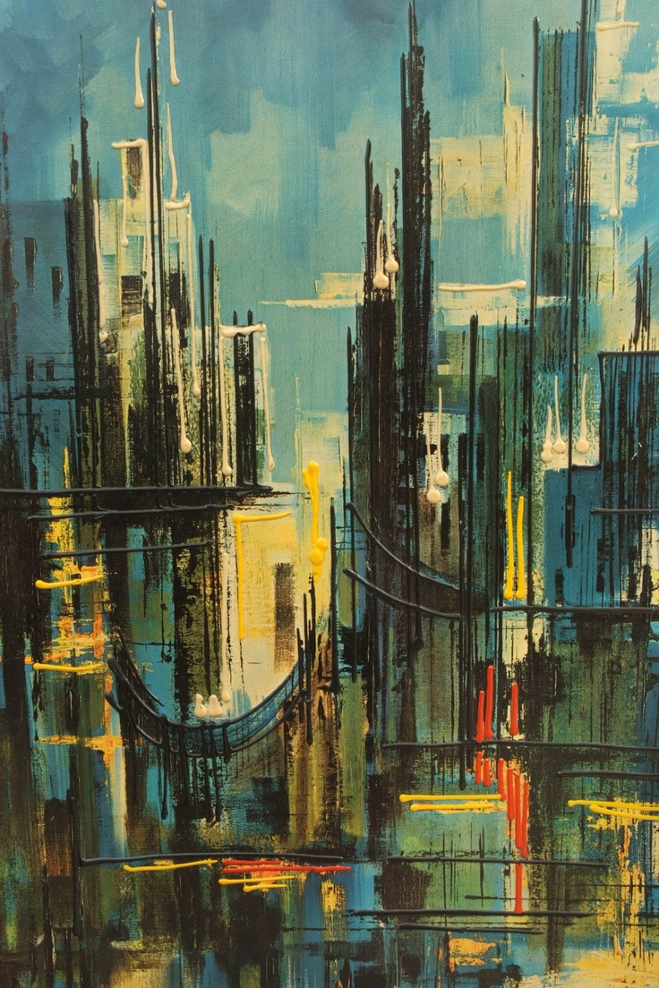 City Lights Downtown Nights Mid Century Art by Montez. $45.00, via Etsy.