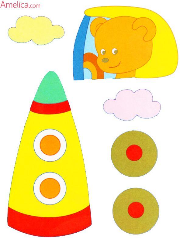 Шаблоны аппликации для малышей 2-3 года скачать, распечатать красочные аппликации для самых маленьких транспорт: паровозик, кораблик, ракета, машинка
