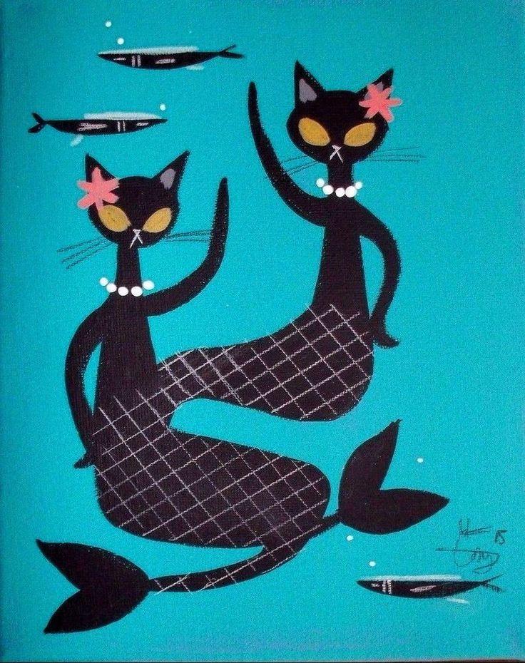 EL GATO GOMEZ PAINTING RETRO 1950S MERMAID BLACK CAT KITSCHY TIKI BAR HULA GIRL #Modernism