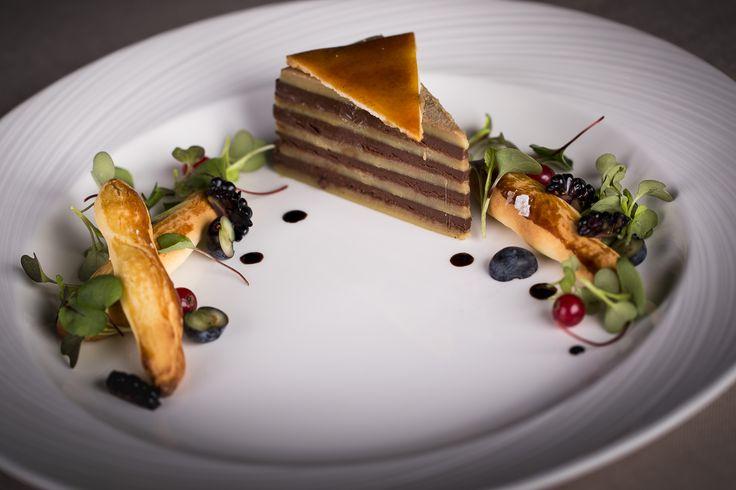 "Duck Foie Gras ""Dobas cake""- Layers of Foie Gras Pâté and Chocolate, Brioche Grissini from the Stradivari Restaurant"