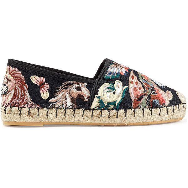 Valentino Embroidered Canvas Espadrilles (€587) ❤ liked on Polyvore featuring shoes, sandals, black canvas shoes, multi color sandals, chunky-heel sandals, colorful sandals and black shoes