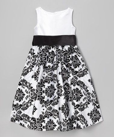 Take a look at this White & Black Damask Dress - Toddler & Girls by Kid's Dream on #zulily today!
