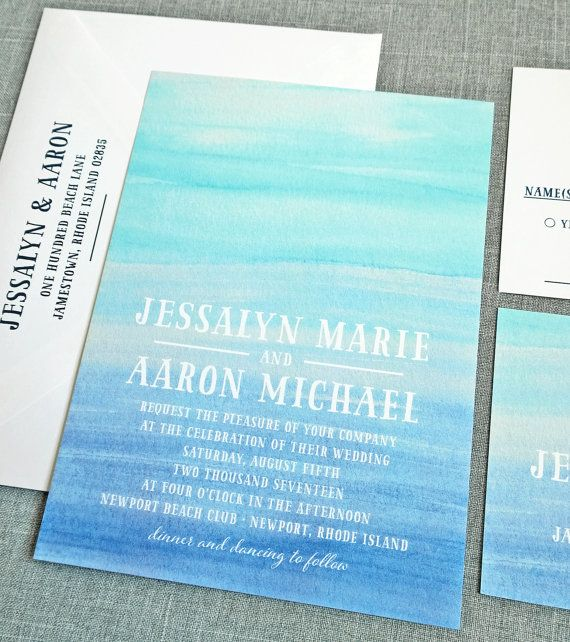 watercolor beach wedding invitations   http://emmalinebride.com/invites/best-invitations-weddings/