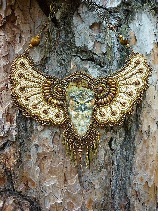 Owl  Necklace Bead Embroidery Art by JewelryElenNoel on Etsy, $395.00