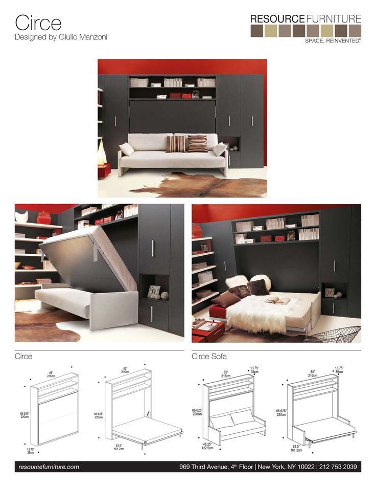 Circe sofa resource furniture wall beds murphy beds for the home pinterest murphy - Pinterest murphy bed ...