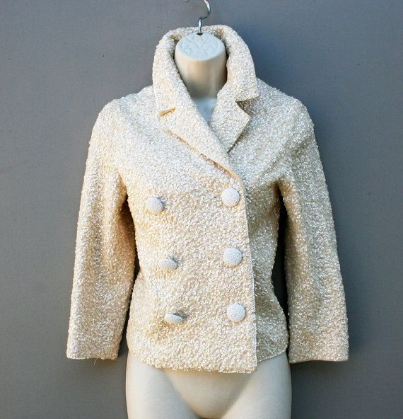 1960's - Sequine Encrusted - Beaded Buttons - Wool Knit Jacket - BANFF - British Hong Kong - Mid Century - Wedding Guest - Cocktail Party