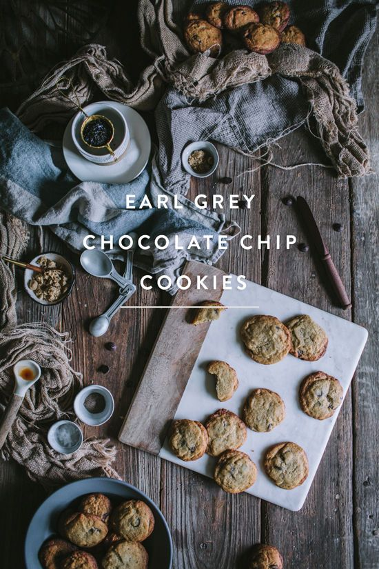 EARL GREY CHOCOLATE CHIP COOKIES-- for best results, use the Serious Eats chocolate chip cookie recipe. Make an earl grey ice cube ahead of time for the brown butter. Grind 1 T of loose leaf tea and stir into dry ingredients. Add cardamom/cinnamon if desi
