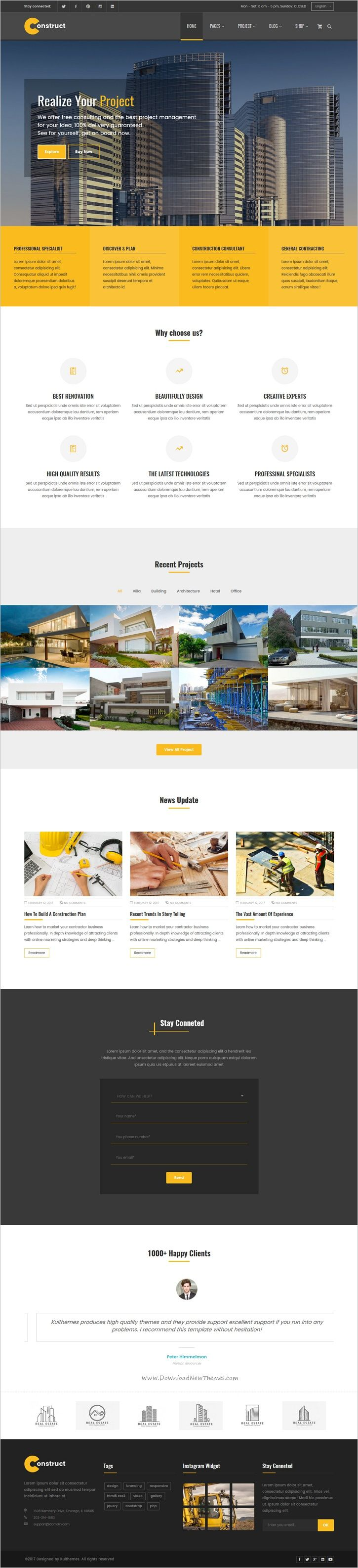 Construct is clean and modern #design 5in1 responsive #HTML5 template fro #construction and #building agency professional website download now > https://themeforest.net/item/construction-building-business-html-template/19814448?ref=Datasata