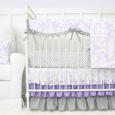 This soft, sweet, and elegant lavender sweet lace damask bumperless crib bedding looks beautiful in any little girls nursery.