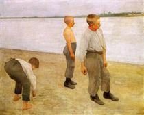 Fiúk dobás Kavics folyóba - Ferenczy Károly