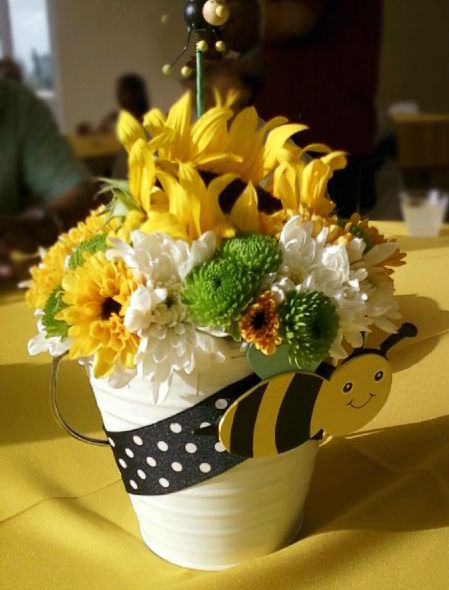 bumble bee themed baby shower center piece  beautiful