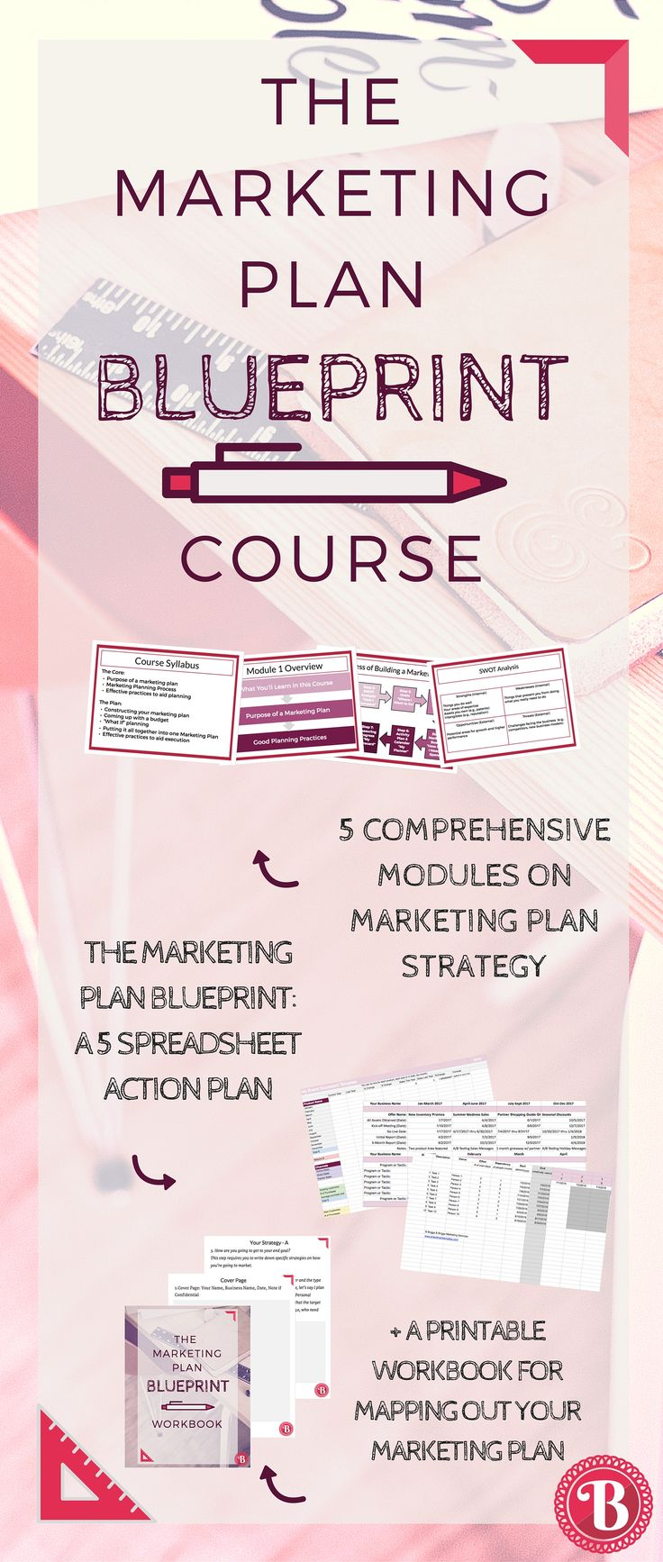 """Introducing The Marketing Plan Blueprint course! MODULE 1 IS FREE!  You will walk away from this course with:  A complete marketing plan to move your business forward.  A flexible mindset and a """"clouds and dirt"""" philosophy towards scaling your business up.  The skills to replicate this plan for all of your future businesses.  A strong sense of purpose and clear vision about your mission and action planning systems."""