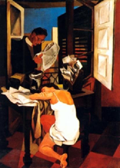 Renato Guttuso - Figura, tavolo e balcone, 1942, MART Rovereto