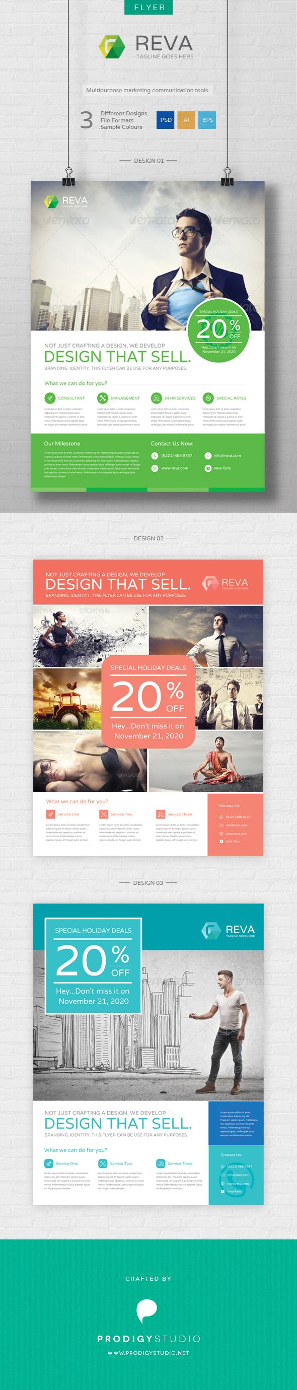 Promotional flyer, clean flyer, multi purpose flyer are suitable purpose using Reva flyer template. File Features:  - CMYK in PSD, AI and EPS file format – 300 dpi resolution - 8.5×11 inch size - 3 color samp  Download here: http://graphicriver.net/item/reva-flyer-template/6763140?ref=prodigystudio