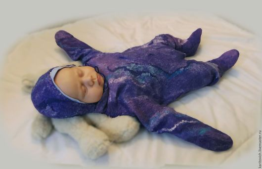 """Одежда ручной работы. Ярмарка Мастеров - ручная работа. Купить комбинезон """"Галактика"""". Handmade. Фиолетовый, малыш, беби"""