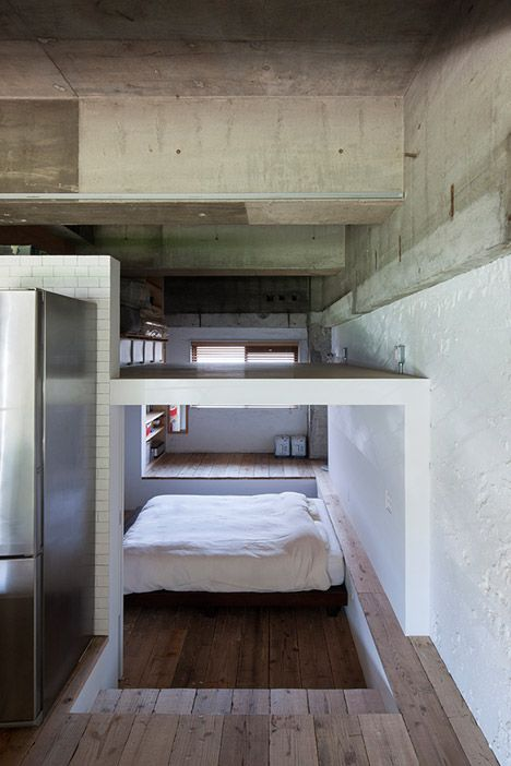 House with Loft by Hiroyuki Tanaka - perfect wood that looks so clean with the white walls and steps down to the bed.