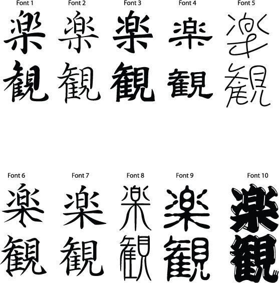 Japanese Kanji Symbol For Optimism
