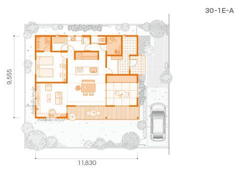 30-1E-A[PV=10.5kW]建築面積/113.03㎡ 延床面積/99.78㎡(30.12坪)※平面図の単位はミリ。