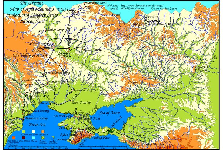 The Mammoth Hunters, map of the Ukraine- Locations from the Earth's Children book series (Clan of the Cave Bear, etc...)
