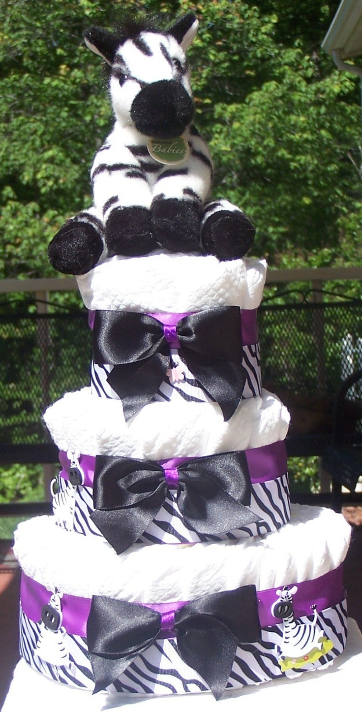 Purple Zebra Diaper Cake Baby Shower Gift Shower Centerpiece Baby Gift  Gift for New Mom Dad. $50.00, via Etsy.