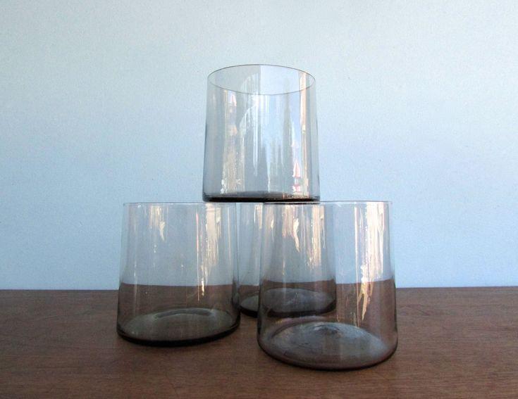 Hübsch Wide-Low Drinking Glasses, Set of 4, Danish Handmade Blown-Glass in Grey, Vintage Barware Made in Denmark