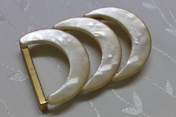 boucle ceinture vintage lune nacré ivoire