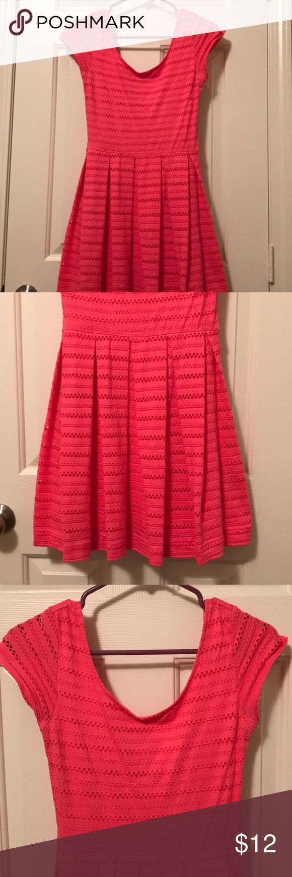 Bright pink sundress Mini bright pink cotton and spandex sundress with small cap sleeves. Length is above the knee and a juniors medium. Worn a few times, great condition. SO Dresses Mini