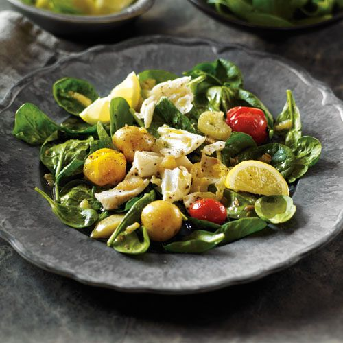 salad and poached egg poached halibut with baby potato salad recipe ...