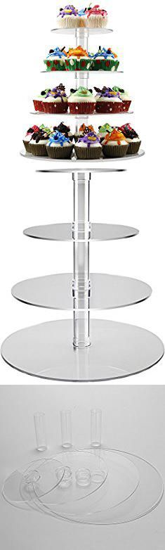 Cupcake Tray Holder. 4 Tiers Party Cupcake Stand Cake Display Holder Carrier Tree Tiered Cupcake Tower For Family Baby Friends Birthday Events (4 Tier Round Tube) -DYCacrlic.  #cupcake #tray #holder #cupcaketray #trayholder