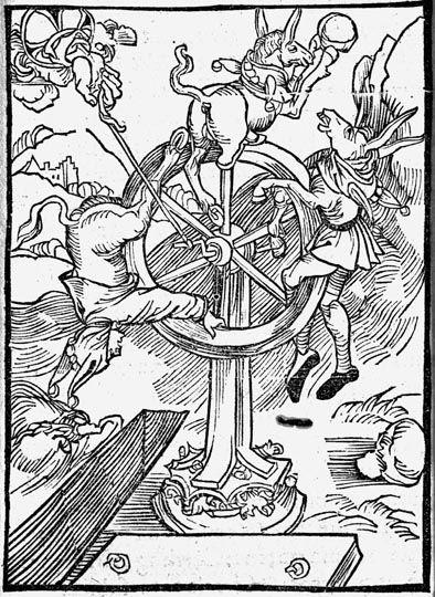 Albrecht Dürer  (Norimberga, 1471 - 1528)       La Ruota della Fortuna       Xilografia, 1494