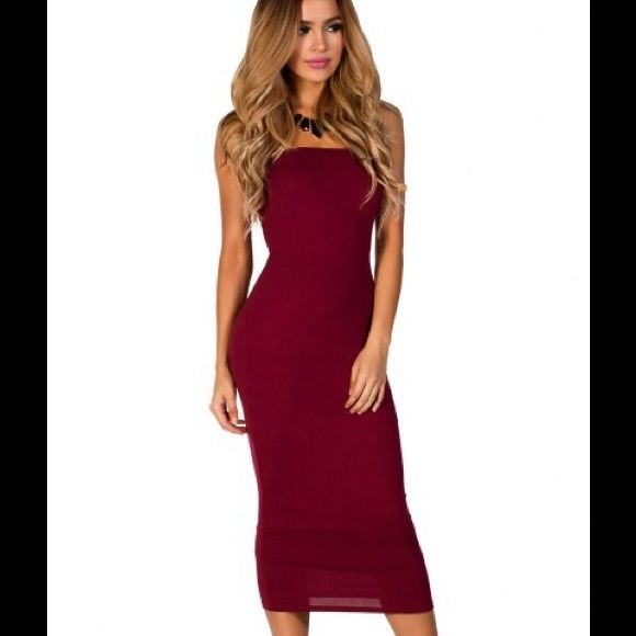 American apparel red dress Super hot american apparel burgundy tube dress : never worn : one size fits all American Apparel Dresses Midi