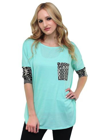 Wholesale Clothing Distributor Good Stuff Apparel new arrival tribal pocketed blouse.